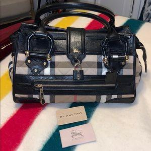 Vintage Burberry plaid leather shoulder bag purse